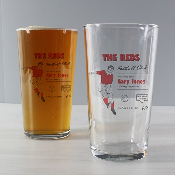 Vintage Football Red Supporter's Pint Glass