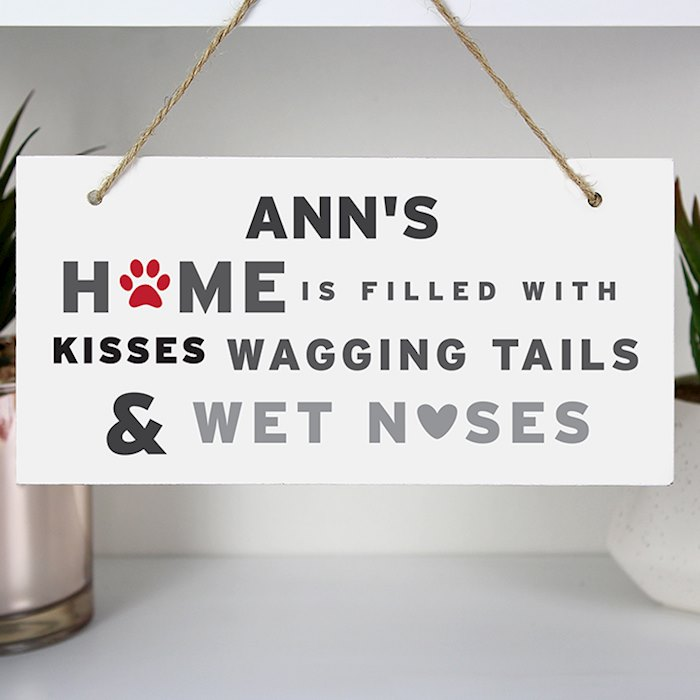 'Wagging Tails' Dog Wooden Sign