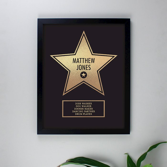 Walk of Fame Star Award Black Framed Print