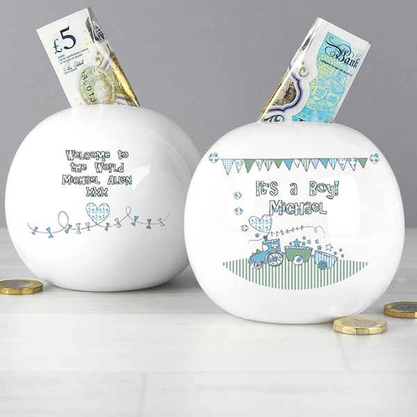 Personalised Whimsical Train Money Box - It's a Boy!
