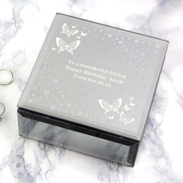 White Butterfly Diamante Glass Trinket Box