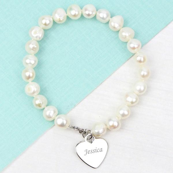White Freshwater Pearl Scripted Name Bracelet