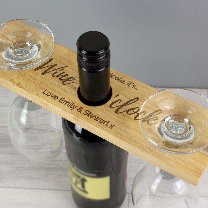 'Wine O'clock' Wine Glass & Bottle Butler
