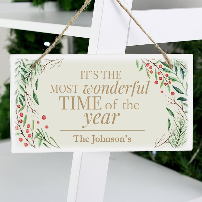 'Wonderful Time of The Year' Christmas Wooden Sign