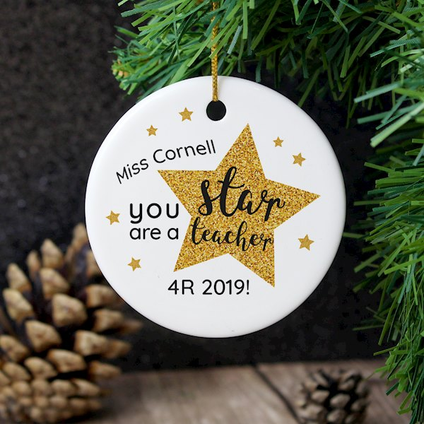 Personalised Star Teacher's Round Ceramic Decoration