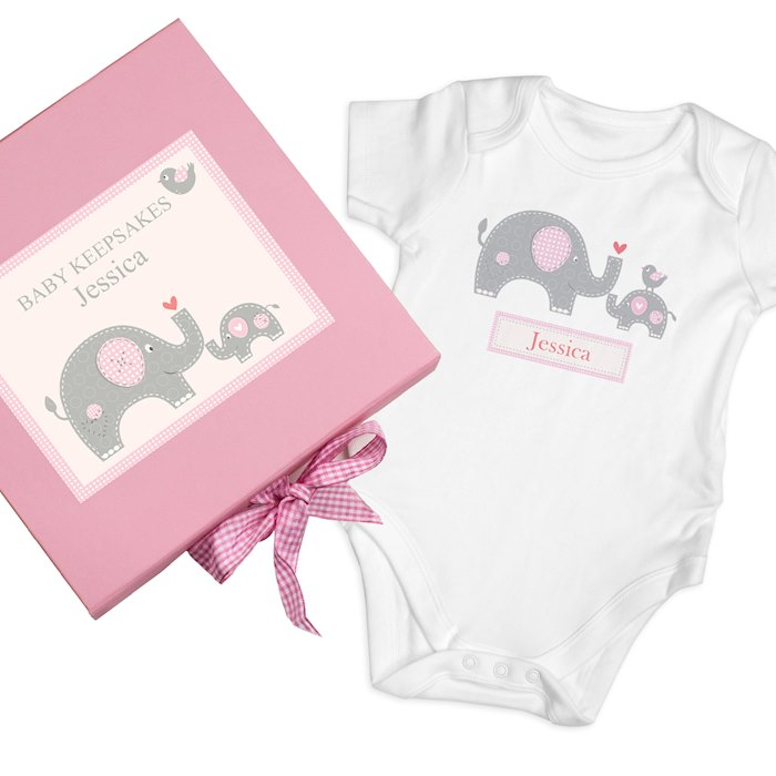 Pink Baby Elephant Gift Set - Baby Vest