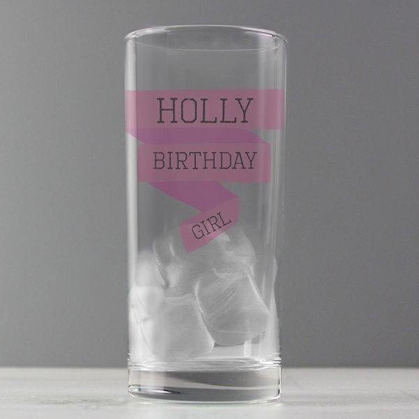 Pink Banner Hi Ball Glass