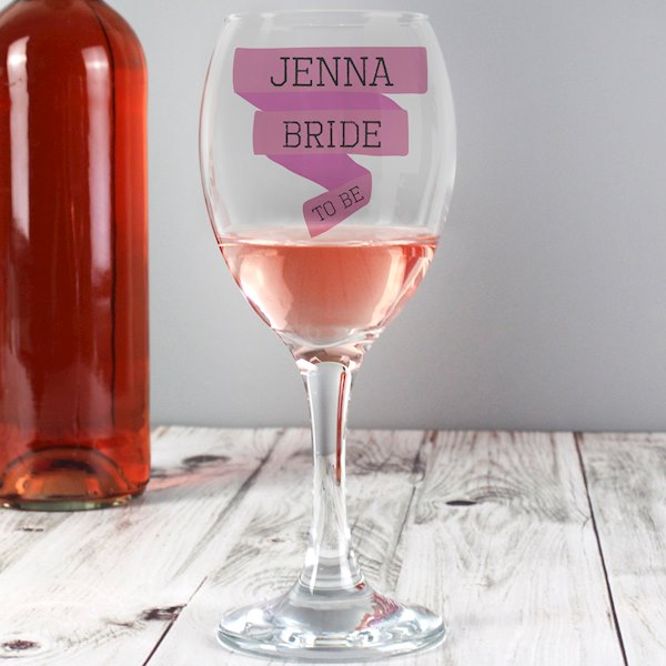 Pink Banner Wine Glass