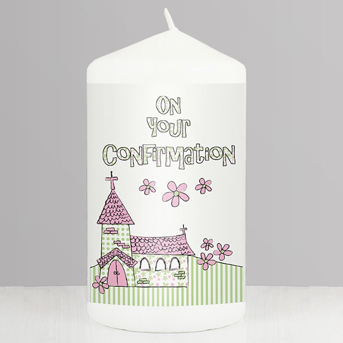 Pink Confirmation Church Candle