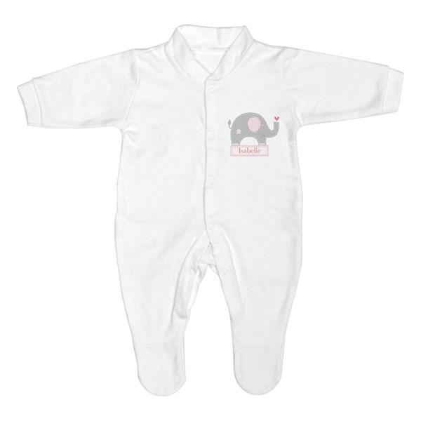 Pink Elephant 0-3 Months Babygrow