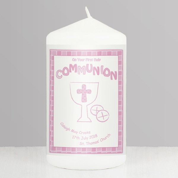 Pink First Holy Communion Candle