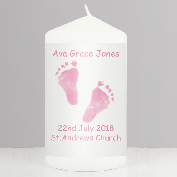 Pink Footprints Candle