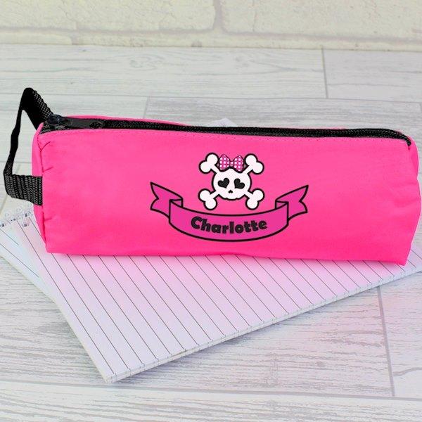Pink Girls Skull & Cross Bone Pencil Case