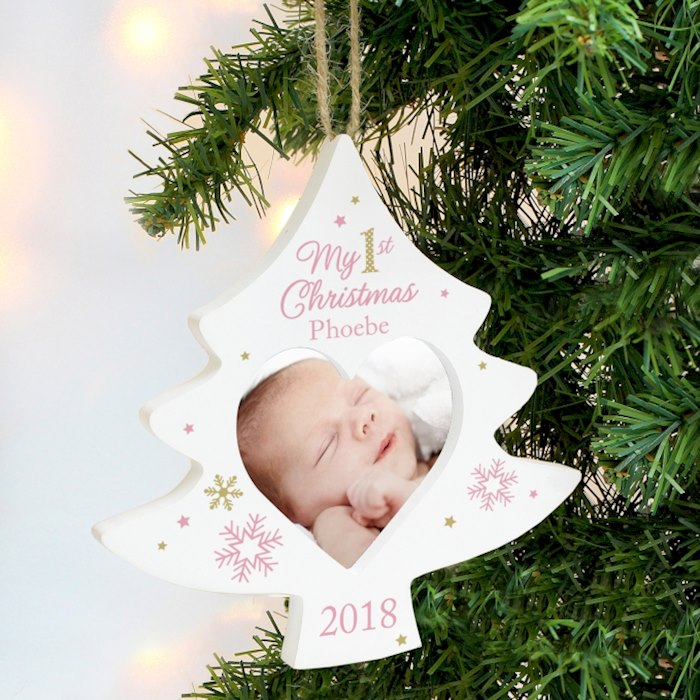 Pink My 1st Christmas Tree Photo Frame Decoration