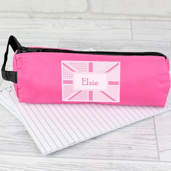Pink Patchwork Union Jack Pencil Case