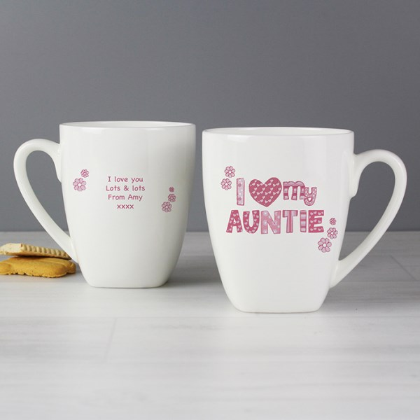 Pink Patterns 'I Love' Latte Mug
