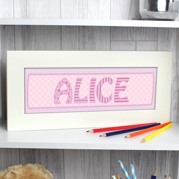 Pink Stitch Name Frame