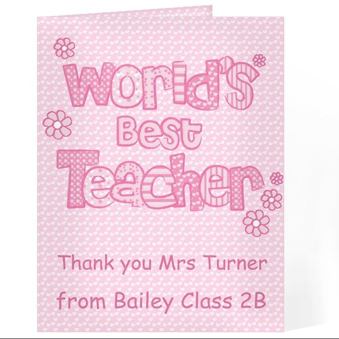 Pink World's Best Teacher Card