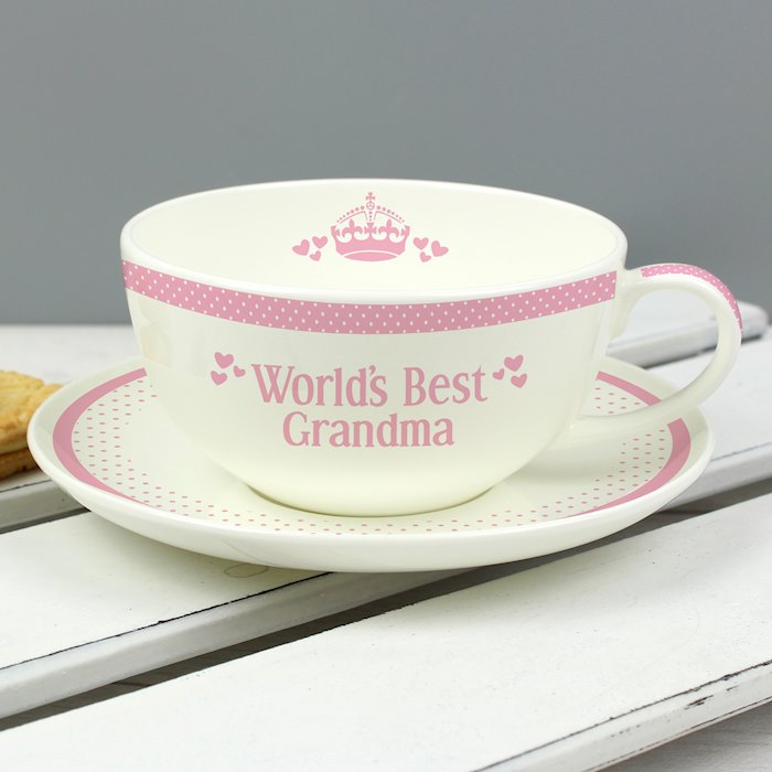 Pink World's Best Teacup and Saucer