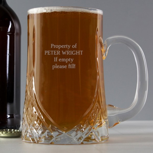 Pint Cut Crystal Tankard