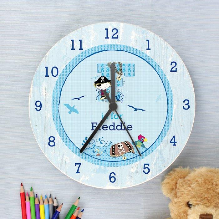 Pirate Shabby Chic Wooden Clock