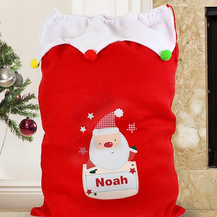 Personalised Pocket Santa Multicoloured Pom Pom Sack
