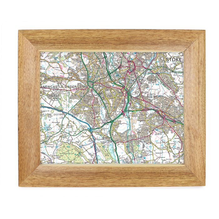 Postcode Map 10x8 Wooden Frame - Present Day