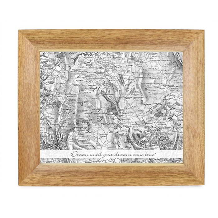 Postcode Map 10x8 Wooden Photo Frame - Old Series With Message