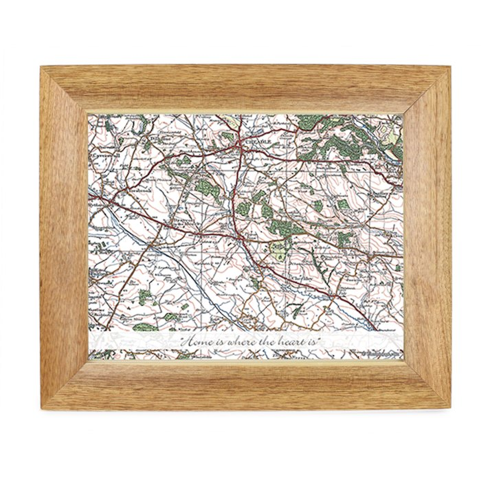 Postcode Map 10x8 Wooden Photo Frame - Popular Edition With Message