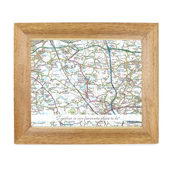 Postcode Map 10x8 Wooden Photo Frame - Present Day With Message