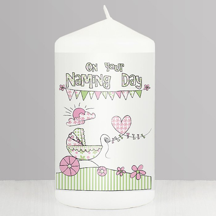 Pram Bunting Naming Candle