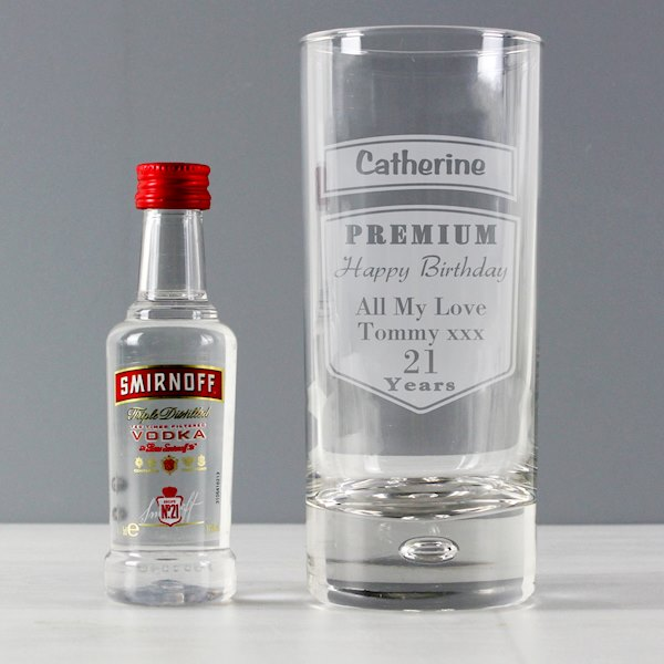 Premium Hi Ball Glass & Vodka Miniature Set