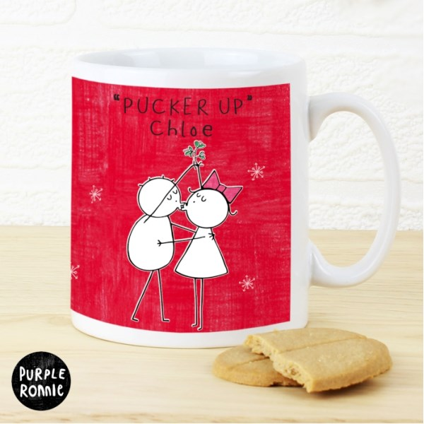 Purple Ronnie Christmas Couple Red Mug