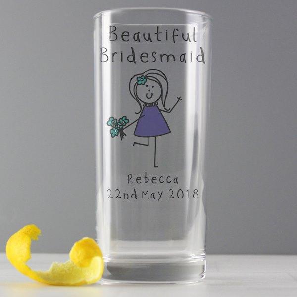 Purple Ronnie Female Wedding Hi Ball Glass