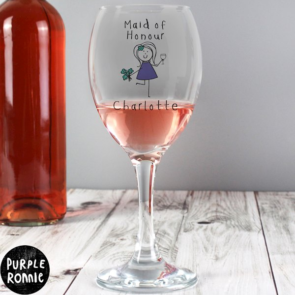 Purple Ronnie Female Wedding Wine Glass