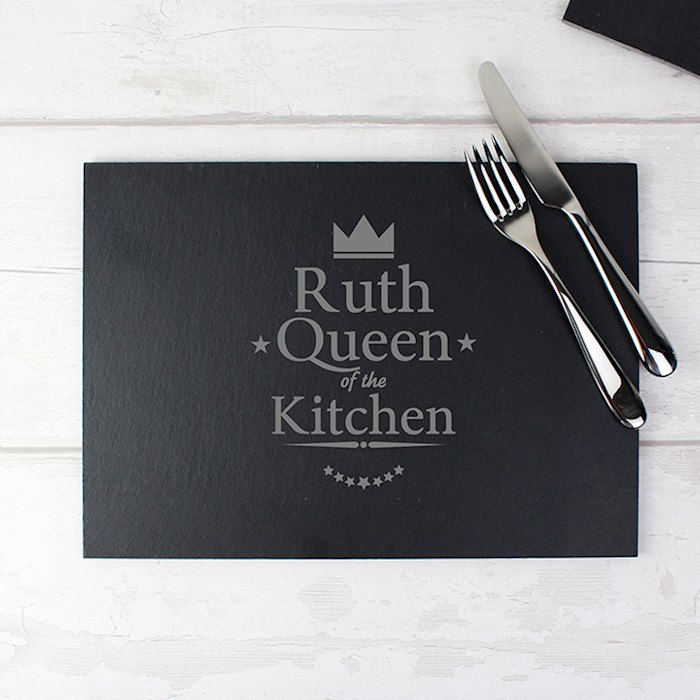 Personalised Queen of the Kitchen Slate Placemat
