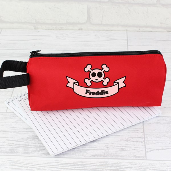 Red Boys Skull & Cross Bone Pencil Case