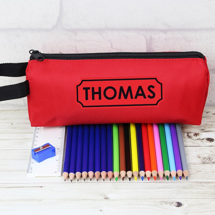 Personalised Red Pencil Case With Contents