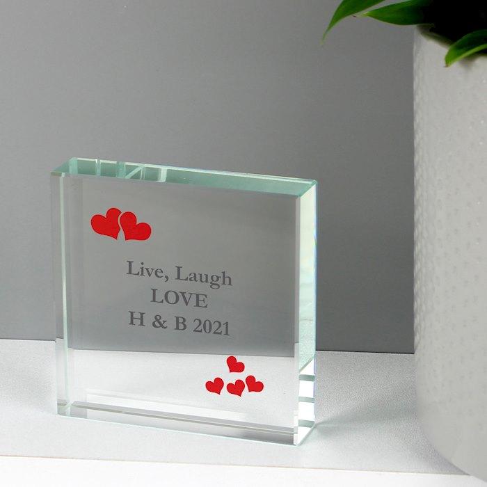 Red Hearts Crystal Block Token