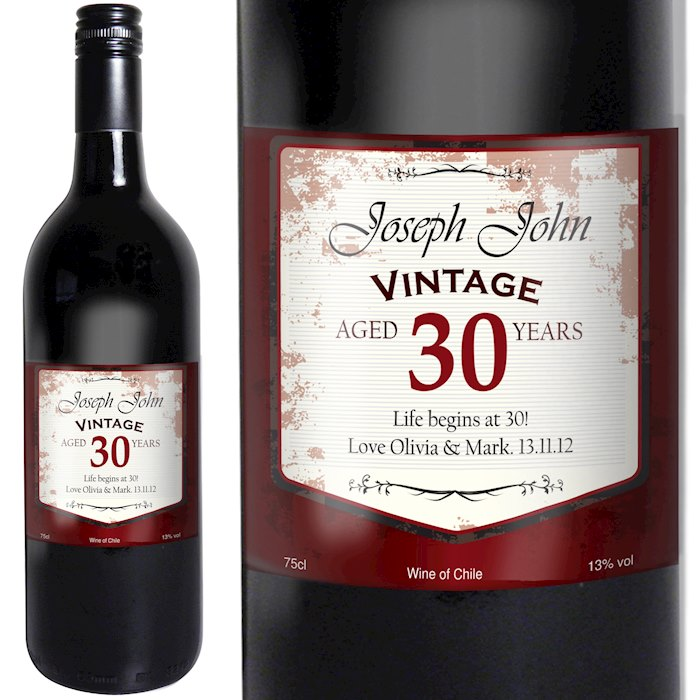 Red Wine Vintage Age Label
