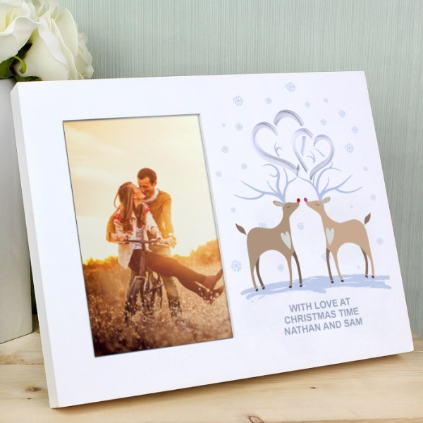 Reindeer Couple Hearts 4x6 Light Up Frame