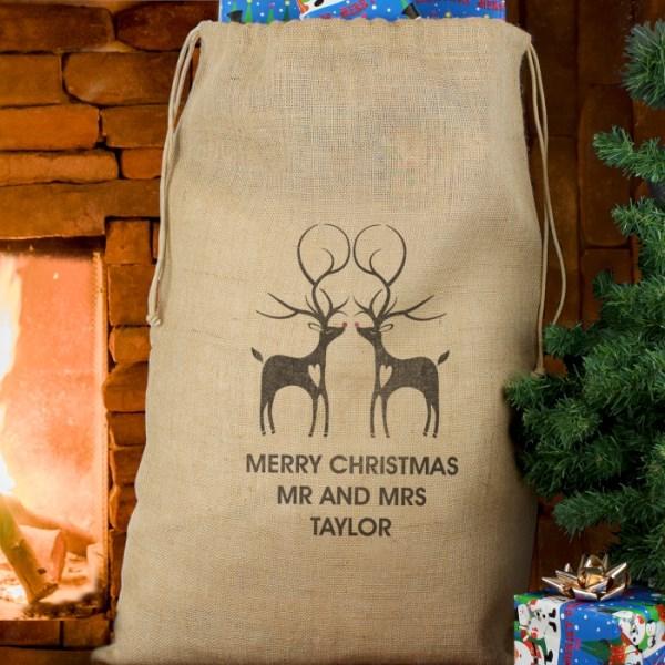 Reindeer Couple Hessian Sack