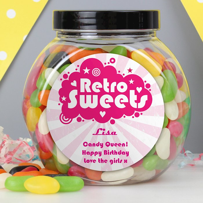 Retro Pink Jelly Beans Sweet Jar
