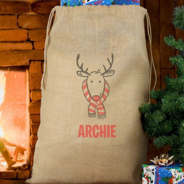 Retro Reindeer Hessian Sack