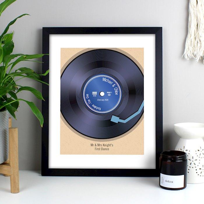 Retro Vinyl Black Framed Poster Print