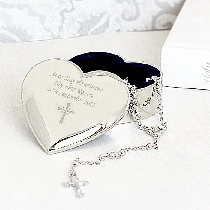 Rosary Beads and Cross Heart Trinket Box