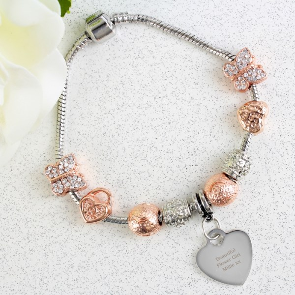 Rose Gold Charm Bracelet - Any Message - 21cm