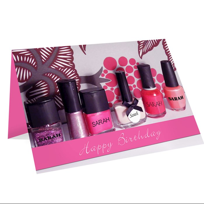 Row of Pink Nail Polish Card