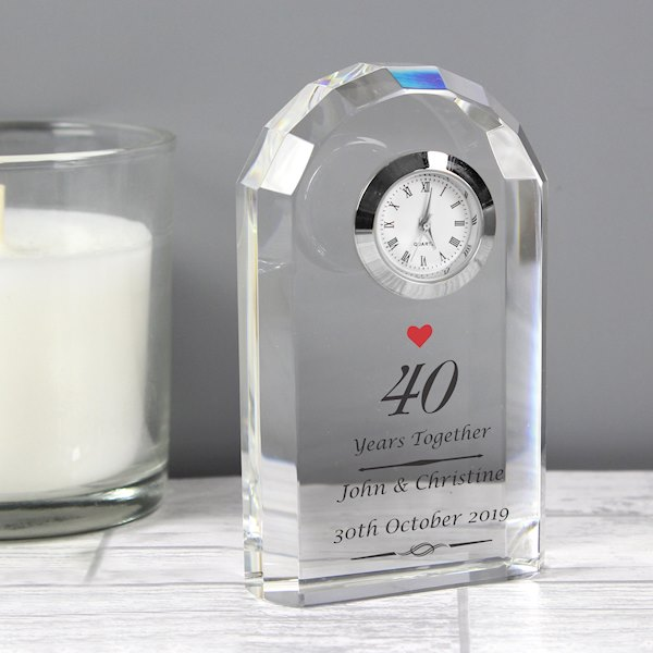 Ruby Anniversary Crystal Clock