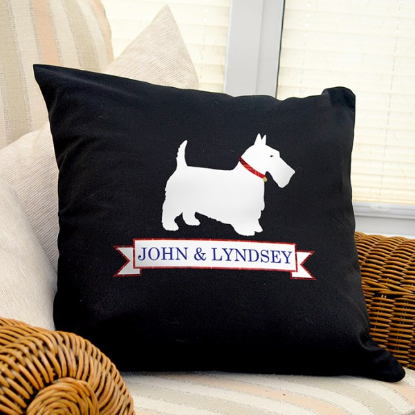 Scottie Dog Black Cushion Cover